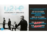 LAST FEW TICKETS: U2 eXPERIENCE + iNNOCENCE TOUR MANCHESTER (SAT 20TH OCT 2018) 4 TICKETS FOR SALE