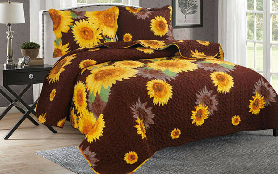 3-Piece New Sunflower Collection Bedspread Quilt Coverlet Set Bedding