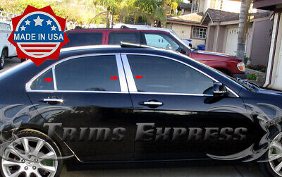 2004-2008 Acura TSX 6Pc Chrome Pillar Post Stainless Steel Trim Door Cover