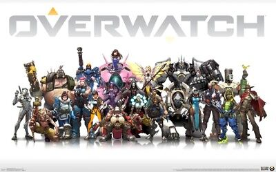 OVERWATCH VIDEO GAME GROUP POSTER NEW 36x24 FREE SHIPPING