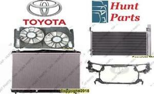 Toyota Sienna 1998 1999 2000 2001 2002 2003 Radiator Support Cooling Fan AC Compressor Condenser Rad Blower Motor