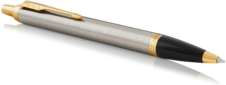 Genuine PARKER IM Ballpoint Pen, Brushed Metal & Gold Trim, New In Box Ballpoint Pens
