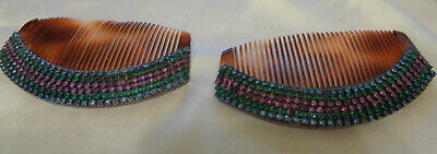 Victorian Wigs, Hair Pieces  | Victorian Hair Jewelry VICTORIAN SET OF HAIR COMBS WITH SPARKLY CRYSTAL TOP FROM FRANCE $45.00 AT vintagedancer.com
