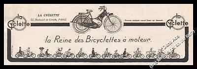 Publicité LA CYCLETTE Bicyclette à moteur Bicycle vélo Vintage Ad 1923