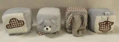 Pottery Barn Kids Baby First Soft Blocks Set of 4 Rattles Crinkles Elephant Bear