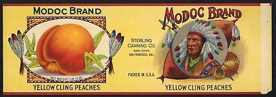 Modoc Vintage Can Label  Indian  Peach    An Original 1920 S Tin Can Label   B40