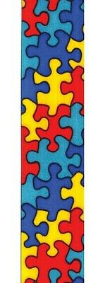 """5 yds of JIGSAW PUZZLE AUTISM AWARENESS SINGLE FACE SATIN RIBBON  5/8"""" or 7/8"""" w"""