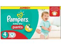 Pampers Baby-Dry Pants Size 4 Jumbo Box 72 Nappies SAME DAY DELIVERY IN LONDON!