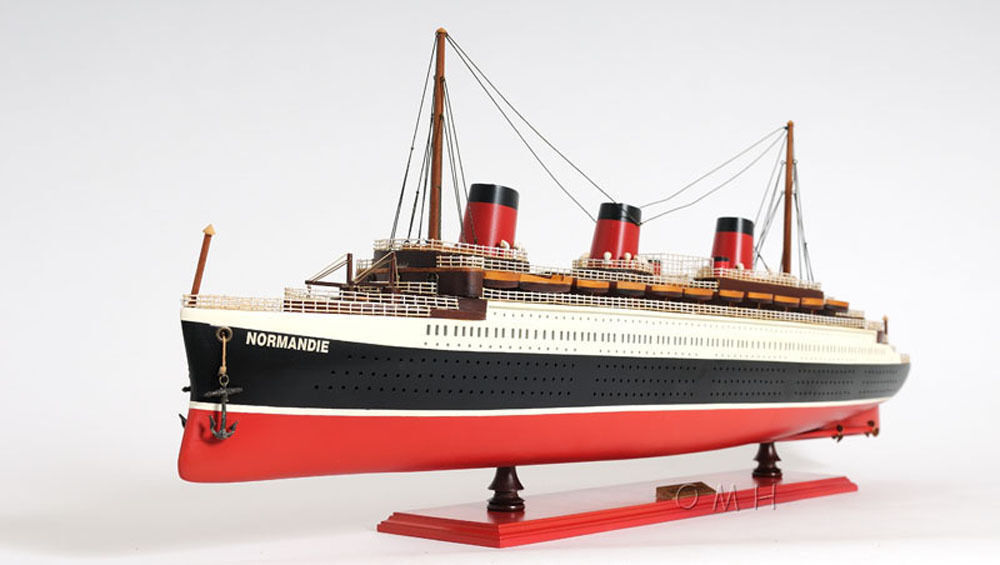SS Normandie French Cruise Ship Built Ocean Liner Wooden Model - Cruise ship model kits