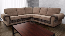 TANGO CORNER SOFA IN in BROWN & MOCHA | 1 YEAR WARRANTY | UK EXPRESS DELIVERY