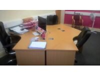 Three office desks