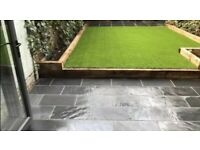 Artificial grass lawns driveways landscaping gardening indian stone fencing decking