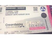 1 standard Sunday Creamfields ticket