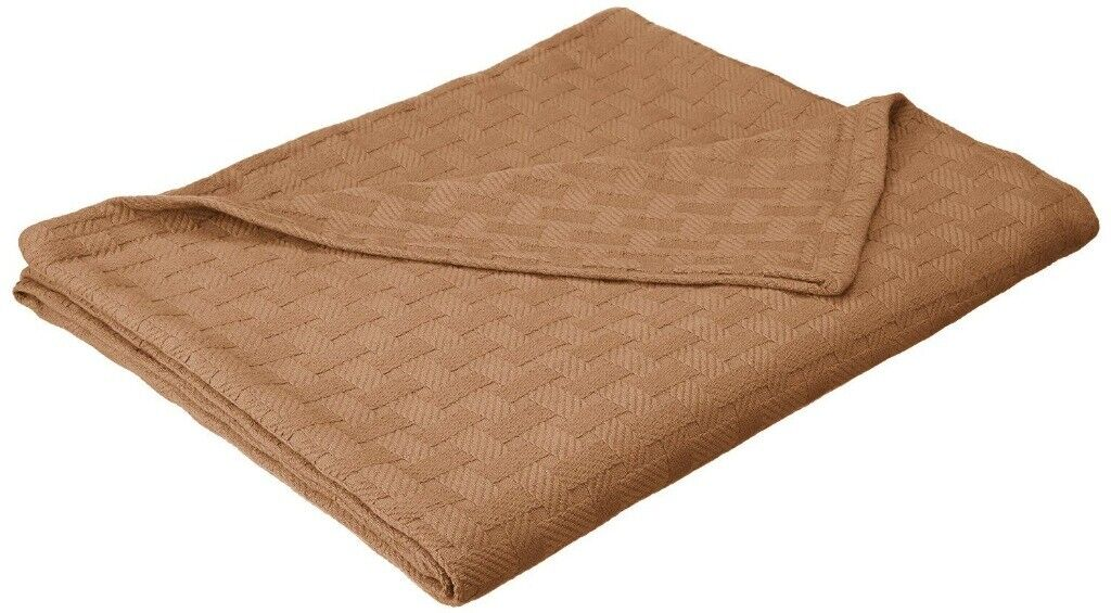 Twin/Twin XL Superior All Season Taupe Basket Weave 100% Cot