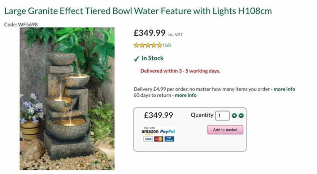 SOLD. Fountain. NOW £100 no offers. Malvern