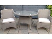 Rattan Dining Table & 2 Chairs ( light Grey )