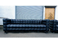 2 x Kubus by Josef Hoffmann 3.5 seater full leather retro replica sofas DELIVERY AVAILABLE