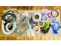 Lot Box 3 of Wires, Cable Ties, Kettle Leads, Mains Cabling, Audio Cable, Solder