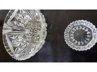Crystal Salad Bowl and small crystal candle holder , both in VGC. Collection in Bury St Edmunds