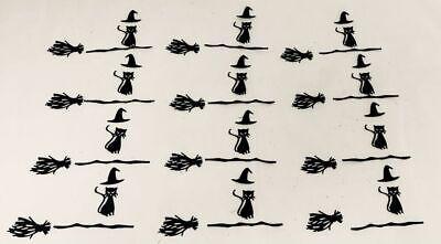 Died On Halloween (Halloween Die Cuts * Witch Cat on Broom * 12 Sets * Black Cardstock *)