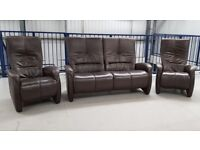 Himolla Stressless Leather 2 seater settee & 2 x leather recliner chairs TABAC