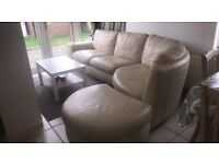 Cream leather effect corner style sofa