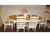 FRENCH COUNTRY STYLE DINING TABLE & 6 CHAIRS (inc 2 carvers).Painted cream,Reupholstered.Shabbychic.