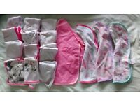baby feeding and dribble bibs pink