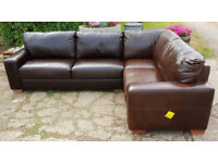 Heart of House Eton Leather Right Hand Corner Sofa - Chocolate