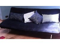 Contemporary Black Fabric Sofa Bed with silver metal legs