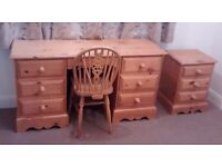 High Quality Pine Desk (with secret drawer), Chair and Bedside Cabinet