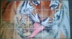 Extra Large Tiger and cub Mosaic Tile Wall Poster 58 X 33 INCHES