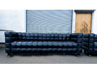 Pair 3.5 seater contemporary brown leather couches DELIVERY AVAILABLE