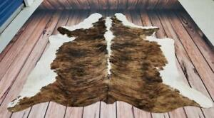 Tri Color Cowhide Rug Brazilian Reddish Brown 90 X 79 Inches 1436 Free Shipping Canada Wide Real, Natural And Authentic