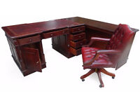 Antique 5 X 3 ft Corner Double Sided Mahogany New Leather Top Partners Pedestal Desk / Workstation