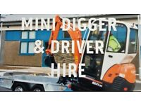 Mini digger hire and driver