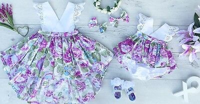 Toddelr Kids Baby Girls Sister Matching Floral Jumpsuit Romper Dress Outfits Set