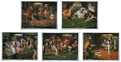 SET OF 5 x CLASSIC DOG SNOOKER / POOL PRINTS BY ARTHUR SARNOFF