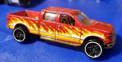 Hot Wheels 2009 Ford F150 Pickup Truck - Maroon Red w Flames - Loose - 1:64 EUC