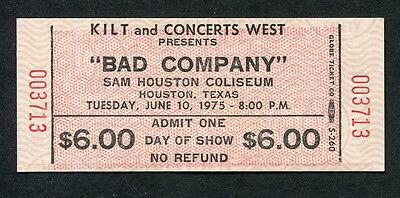 Original 1975 Bad Company unused concert ticket Houston Straight Shooter Rare