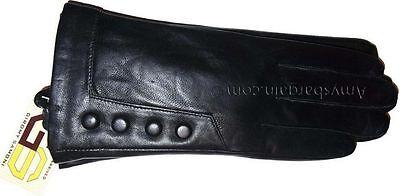 New (M) women's Leather Gloves, Winter stylish Dressy Black leather Warm Gloves