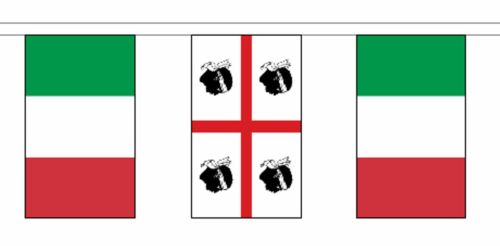 Italy Sardinia & Italy Polyester Flag Bunting - 5m with 14 Flags