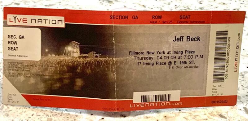 "VINTAGE ROCK CONCERT TICKET JEFF BECK UNUSED! THE FILLMORE NYC 2009 LARGE 8""x 3"""