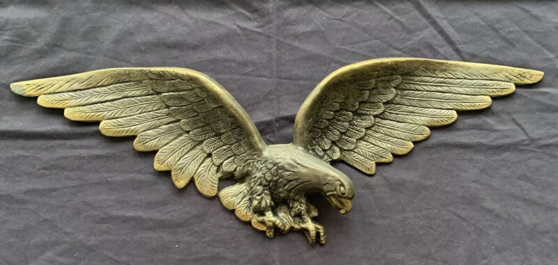 "EAGLE Large 29"" Wing Span Wall Hanging Cast Metal 7032 Brass Finish Vintage"