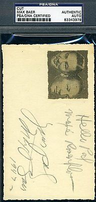 MAX BAER MAXIE ROSENBLOOM SIGNED PSA/DNA 3X5 INDEX CUT AUTOGRAPH