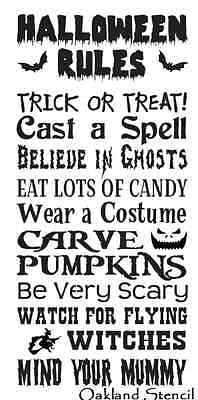 STENCIL**Halloween Rules**Large 12x24 for signs Fall Pumpkin Witch