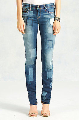 Nwt True Religion Jeans  288 Cora Straight Patched Pants In Forgotten Path Sz 25