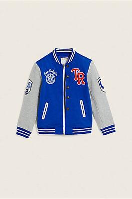 TRUE RELIGION Bright Blue LetterMan Jacket For Kids ~Size 5 - Letterman Jackets For Kids