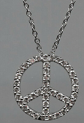 925 Sterling Silver Micro Pave Signity Cz Peace Symbol Necklace