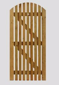 ARCH TOP PICKET GATE 6FT X 3FT TOP QUALITY HEAVY DUTY TIMBER GARDEN GATE